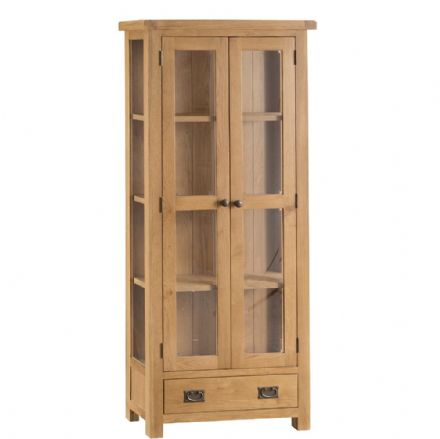 Oslo Oak Display Cabinet with Glazed Doors
